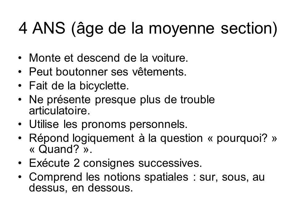 4 ANS (âge de la moyenne section)