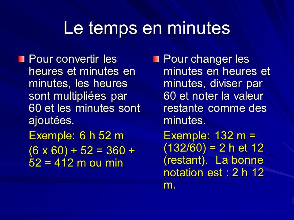 Le temps en minutesPour convertir les heures et minutes en minutes, les heures sont multipliées par 60 et les minutes sont ajoutées.