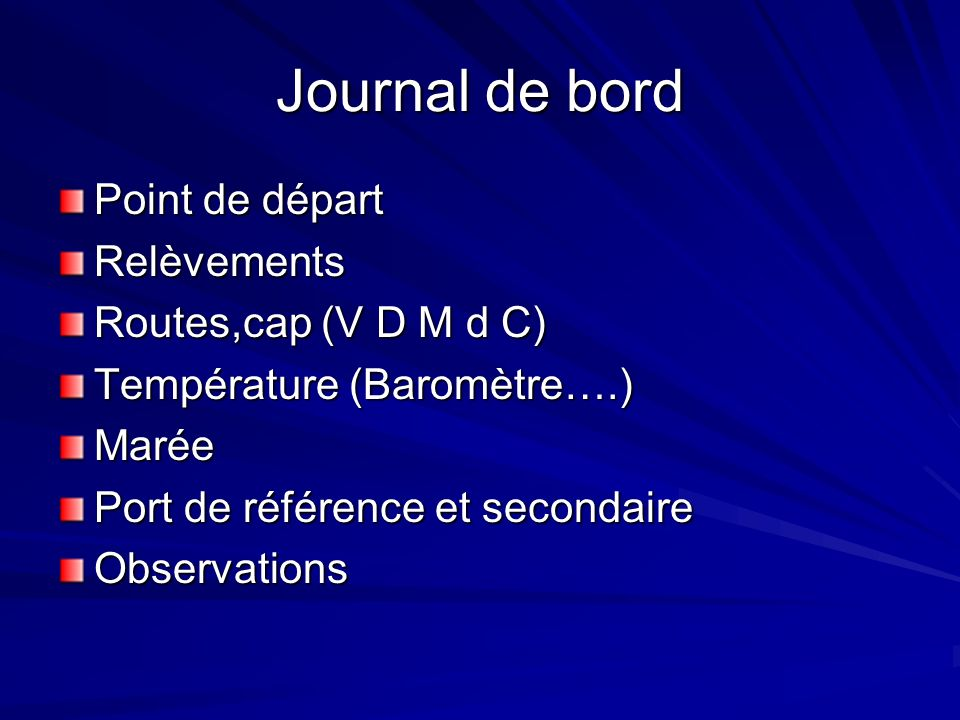 Journal de bord Point de départ Relèvements Routes,cap (V D M d C)