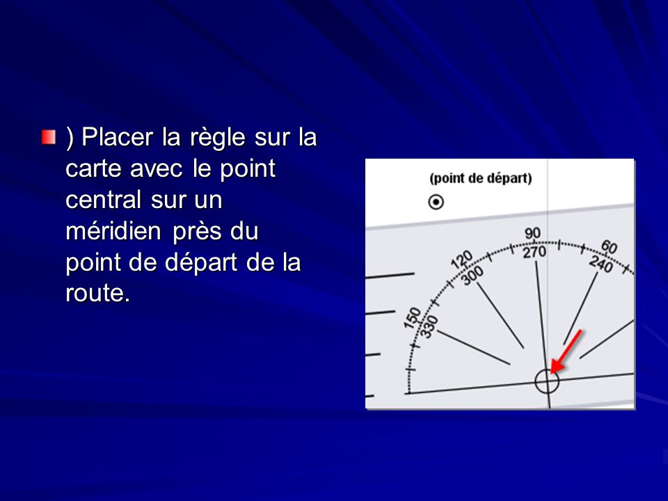 ) Placer la règle sur la carte avec le point central sur un méridien près du point de départ de la route.