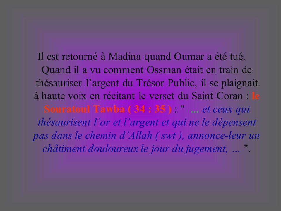 Il est retourné à Madina quand Oumar a été tué