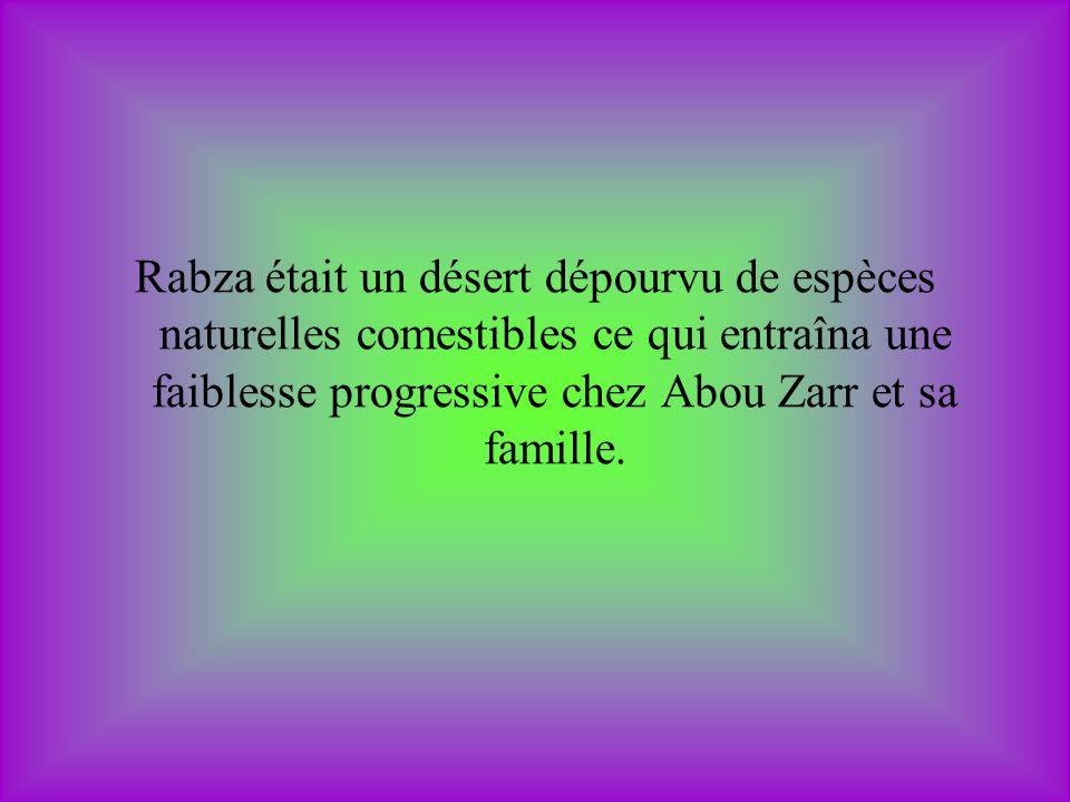 Rabza était un désert dépourvu de espèces naturelles comestibles ce qui entraîna une faiblesse progressive chez Abou Zarr et sa famille.