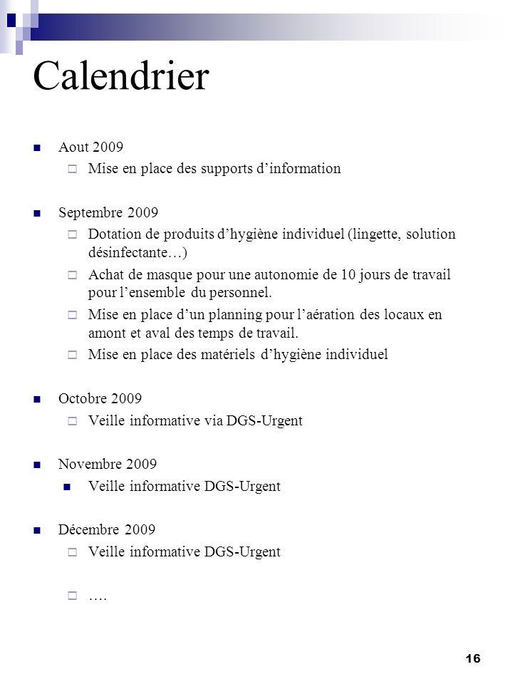 Calendrier Aout 2009 Mise en place des supports d'information