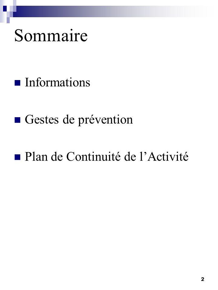 Sommaire Informations Gestes de prévention