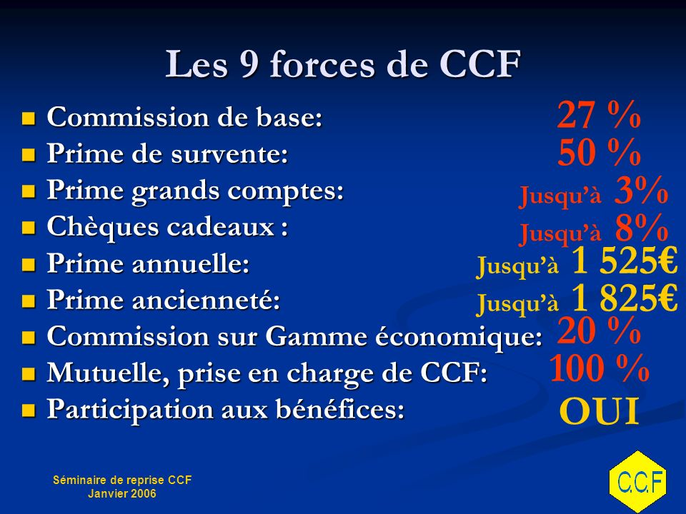 Les 9 forces de CCF 27 % 50 % 20 % 100 % OUI