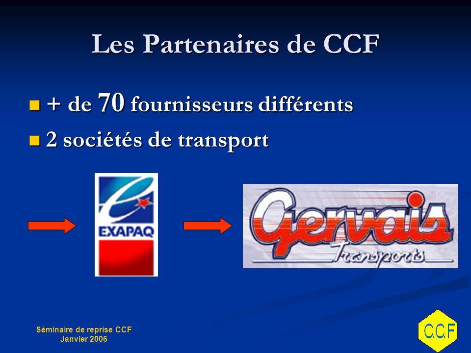 Les Partenaires de CCF + de 70 fournisseurs différents