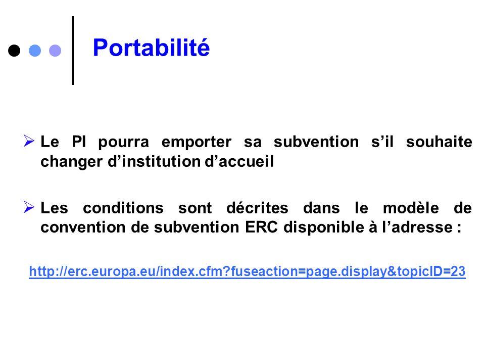 Portabilité Le PI pourra emporter sa subvention s'il souhaite changer d'institution d'accueil.
