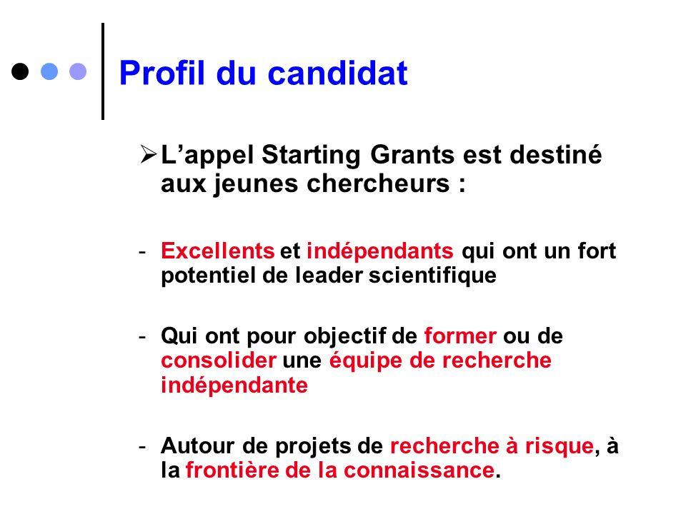Profil du candidat L'appel Starting Grants est destiné aux jeunes chercheurs :