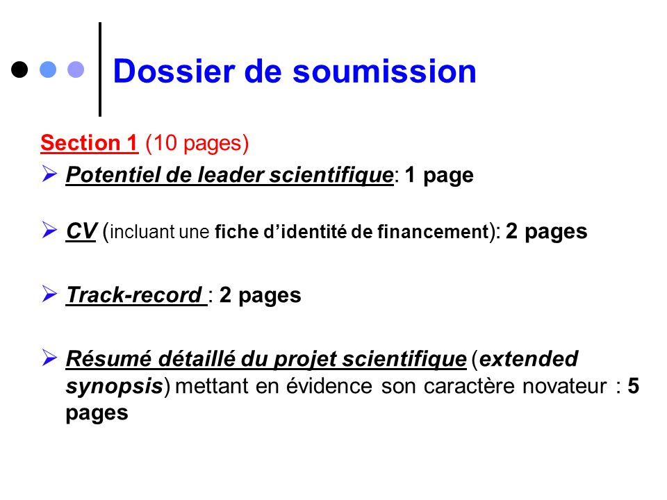 Dossier de soumission Section 1 (10 pages)