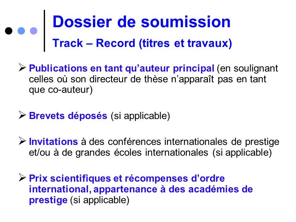 Dossier de soumission Track – Record (titres et travaux)