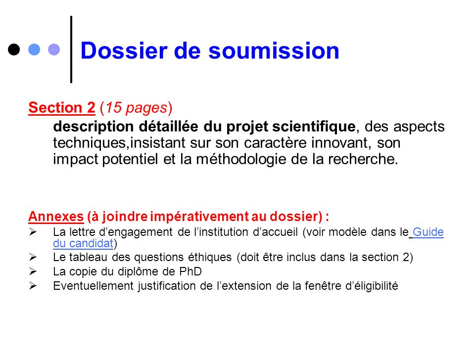 Dossier de soumission Section 2 (15 pages)