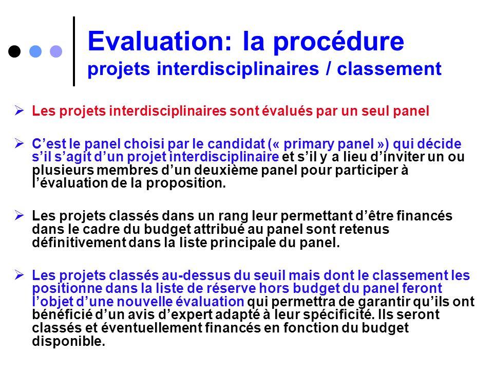 Evaluation: la procédure projets interdisciplinaires / classement