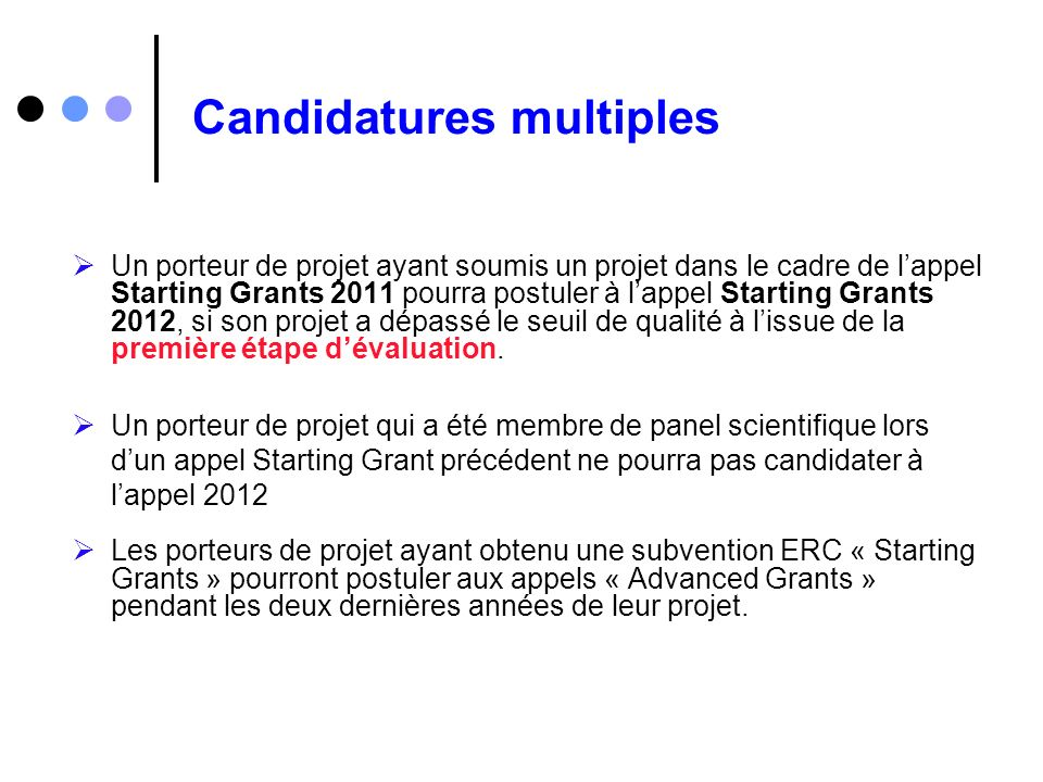 Candidatures multiples