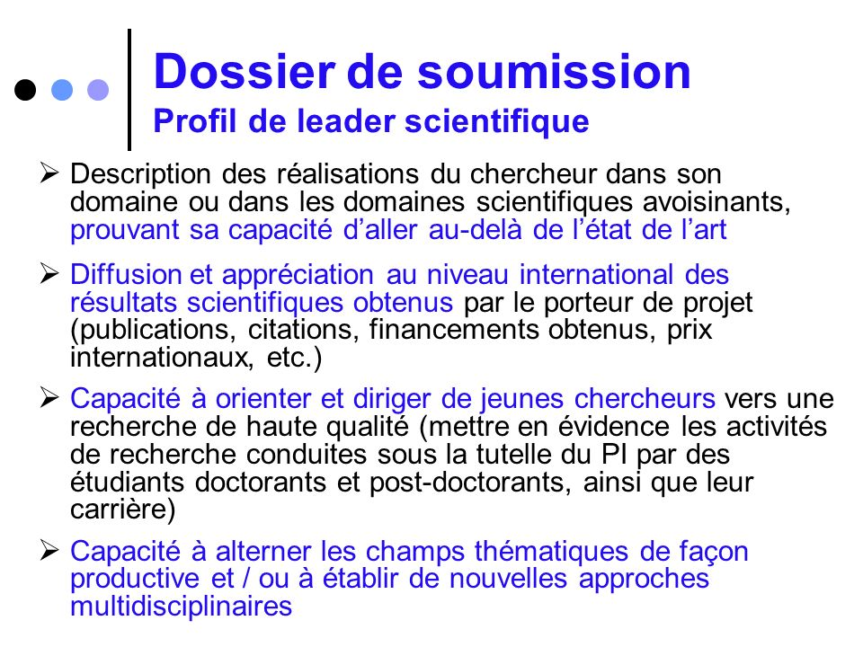 Dossier de soumission Profil de leader scientifique