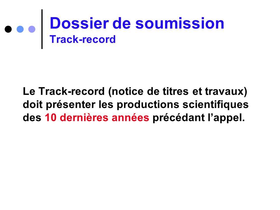 Dossier de soumission Track-record
