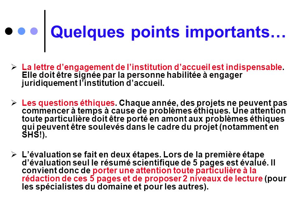 Quelques points importants…