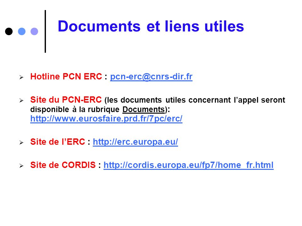 Documents et liens utiles