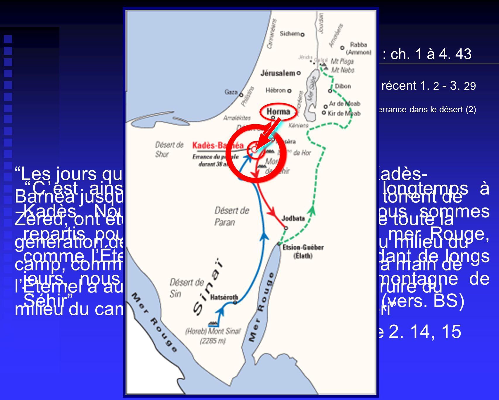 Le passé récent 1. 2 - 3. 29 L'errance dans le désert (2) 1. Le chemin jusqu'ici : ch. 1 à 4. 43.