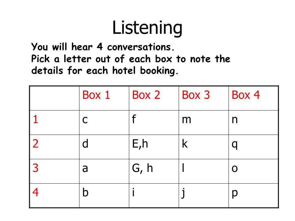 Listening Box 1 Box 2 Box 3 Box 4 1 c f m n 2 d E,h k q 3 a G, h l o 4