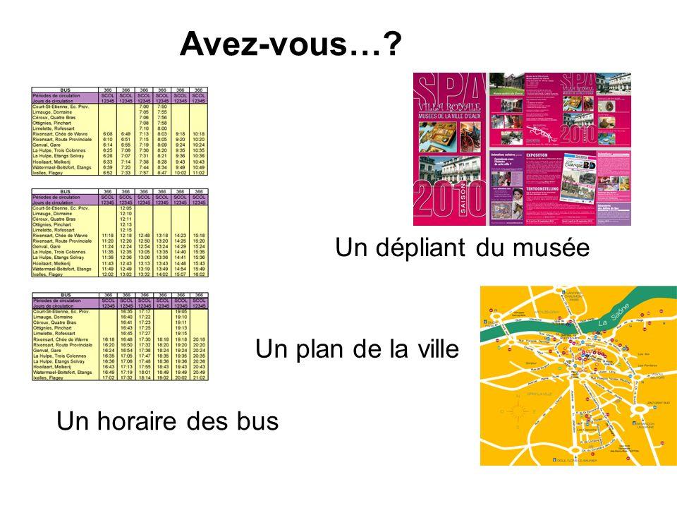 Avez-vous… Un dépliant du musée Un plan de la ville