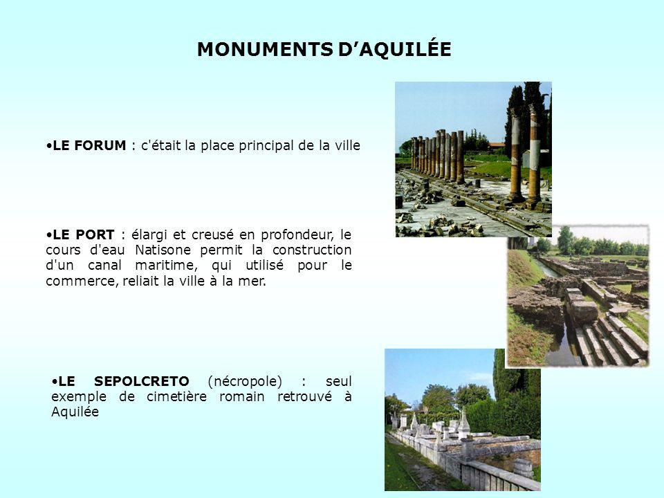 MONUMENTS D'AQUILÉE LE FORUM : c était la place principal de la ville