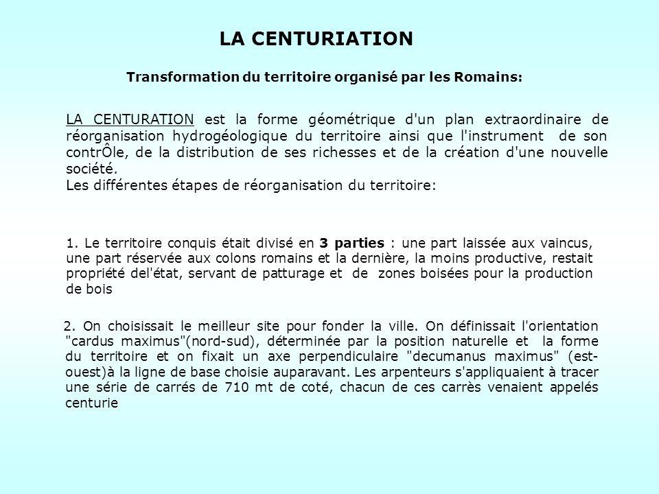 Transformation du territoire organisé par les Romains:
