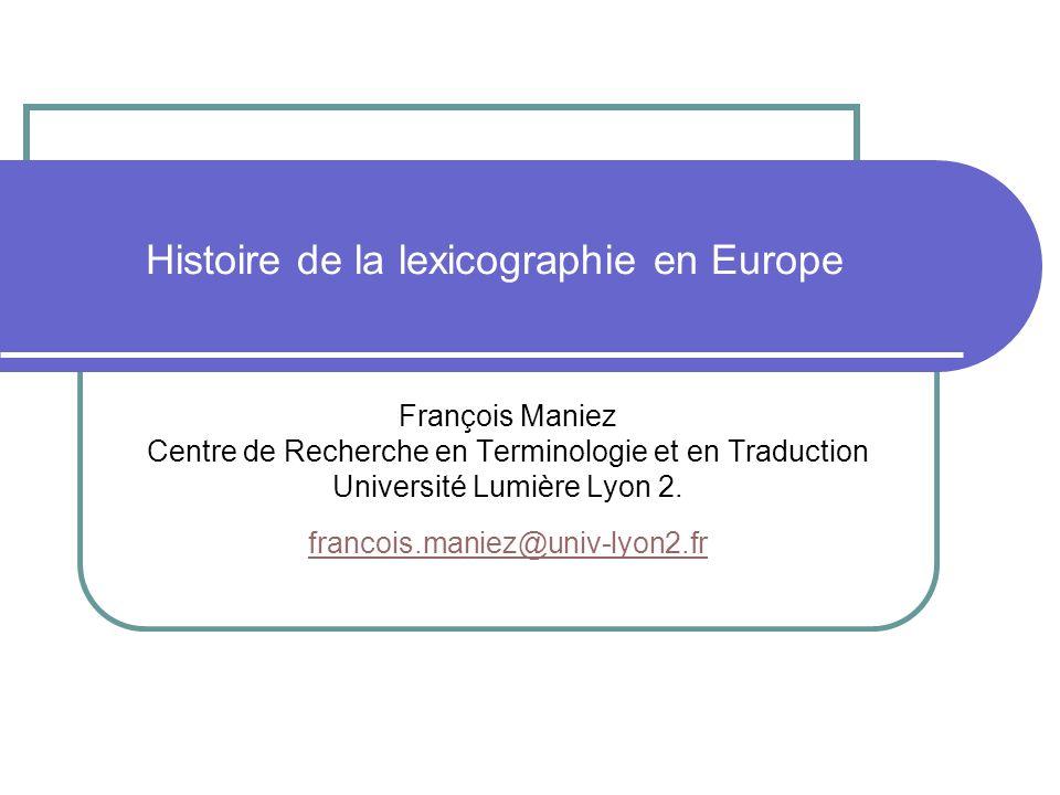 Histoire de la lexicographie en Europe
