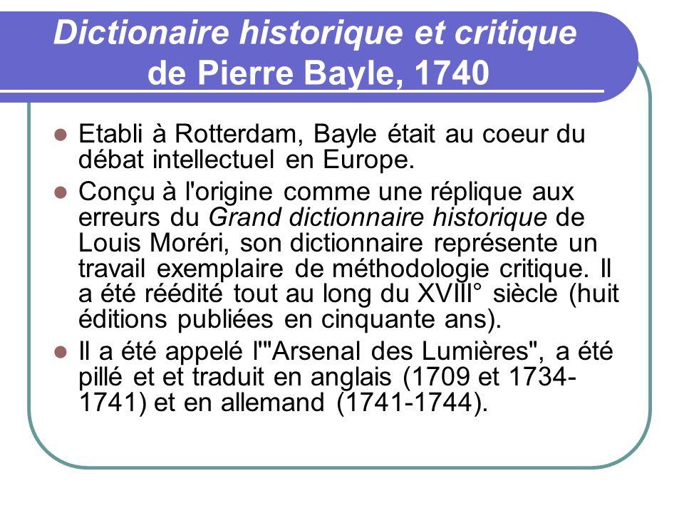 Dictionaire historique et critique de Pierre Bayle, 1740