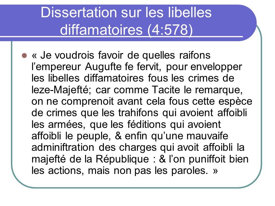 Dissertation sur les libelles diffamatoires (4:578)