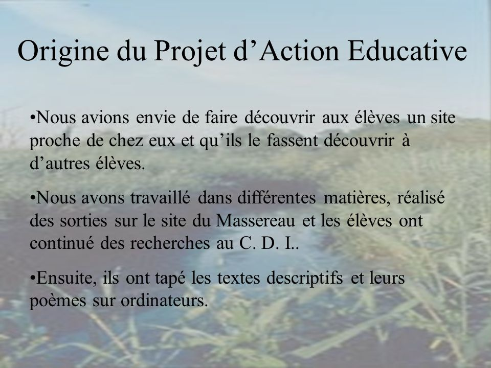 Origine du Projet d'Action Educative