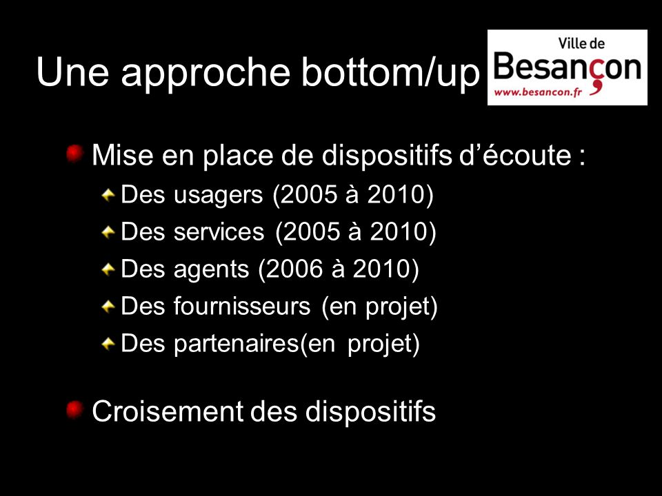 Une approche bottom/up