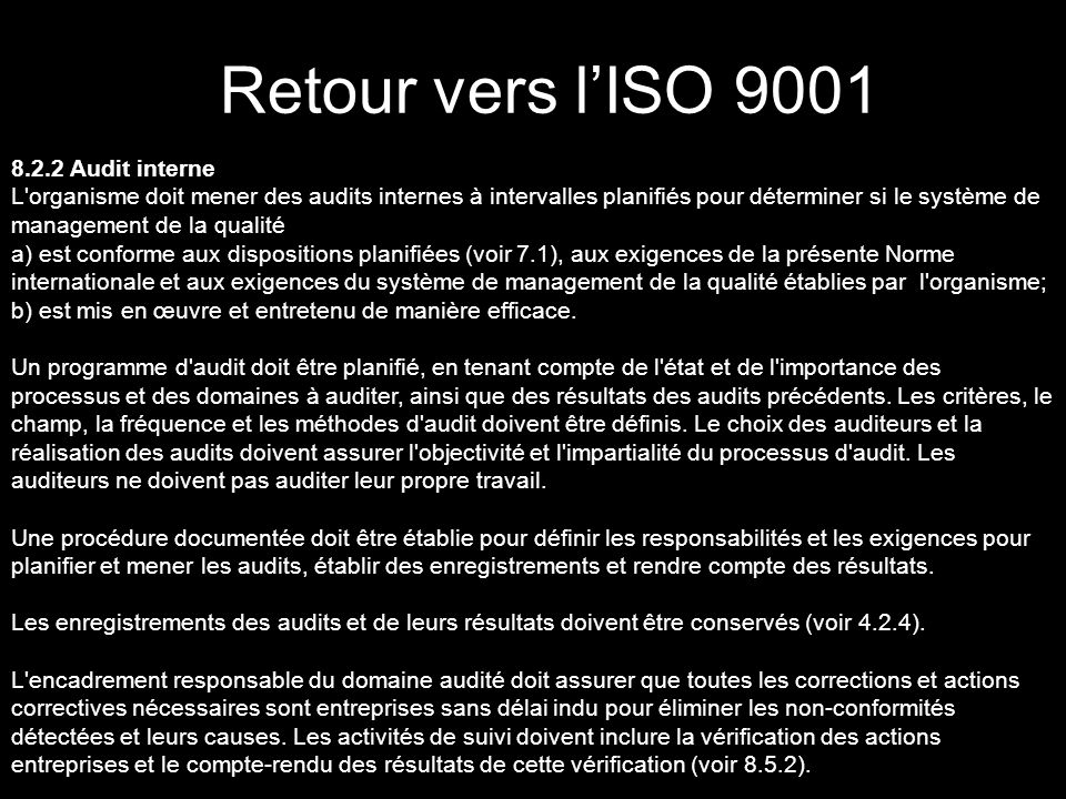 Retour vers l'ISO 9001 8.2.2 Audit interne