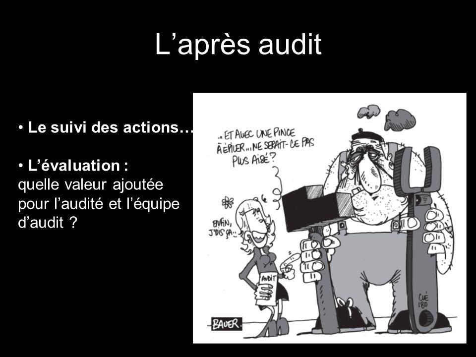 L'après audit Le suivi des actions… L'évaluation :