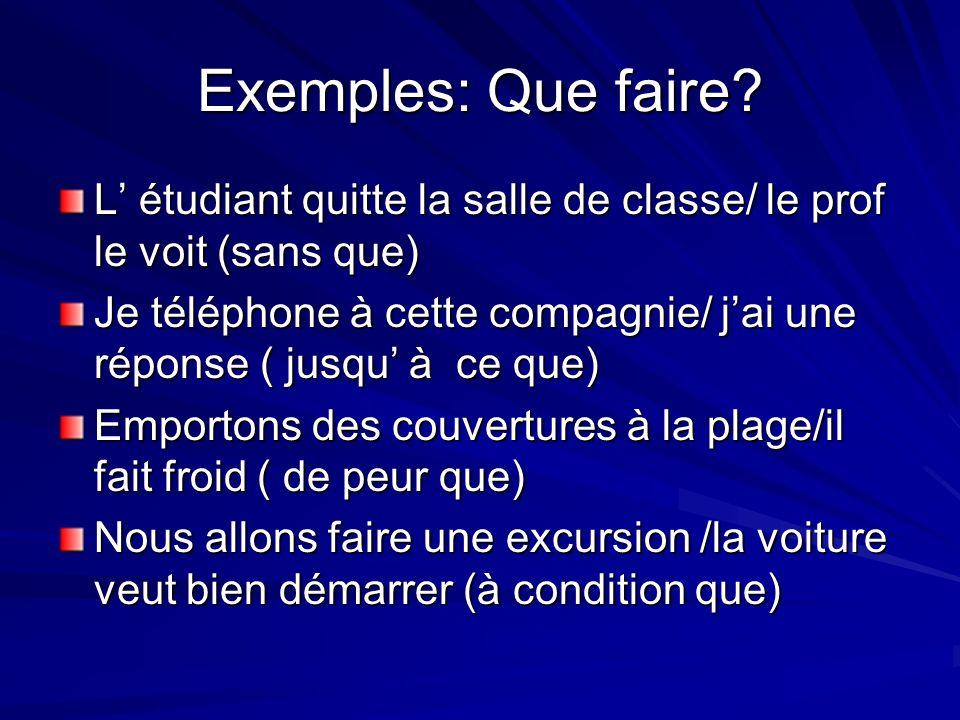 Exemples: Que faire L' étudiant quitte la salle de classe/ le prof le voit (sans que)