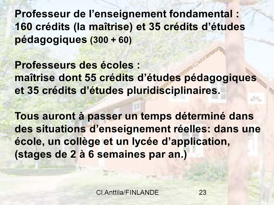 Professeur de l'enseignement fondamental :