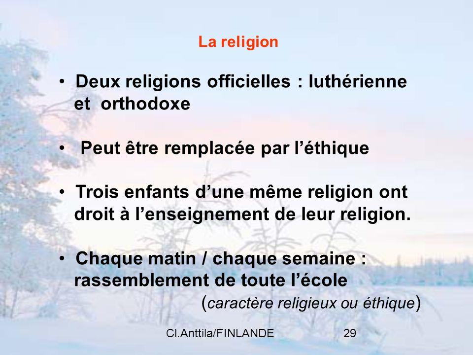 Deux religions officielles : luthérienne et orthodoxe