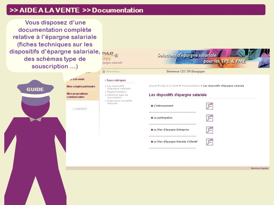 >> AIDE A LA VENTE >> Documentation