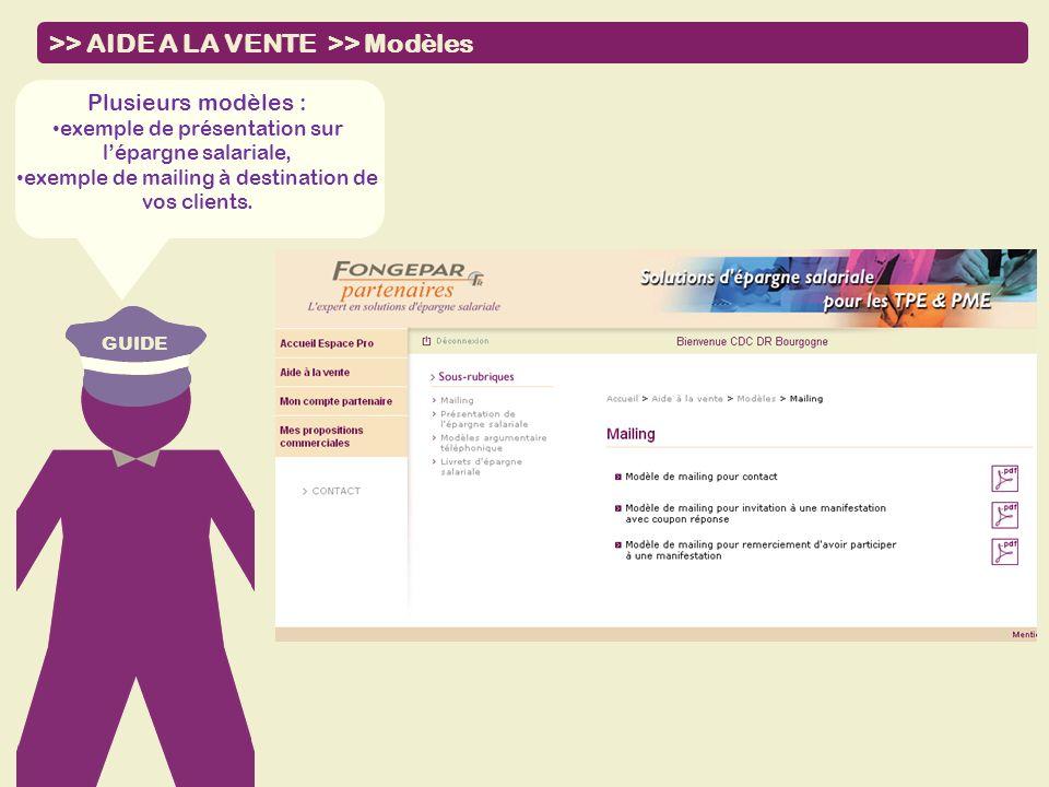 >> AIDE A LA VENTE >> Modèles