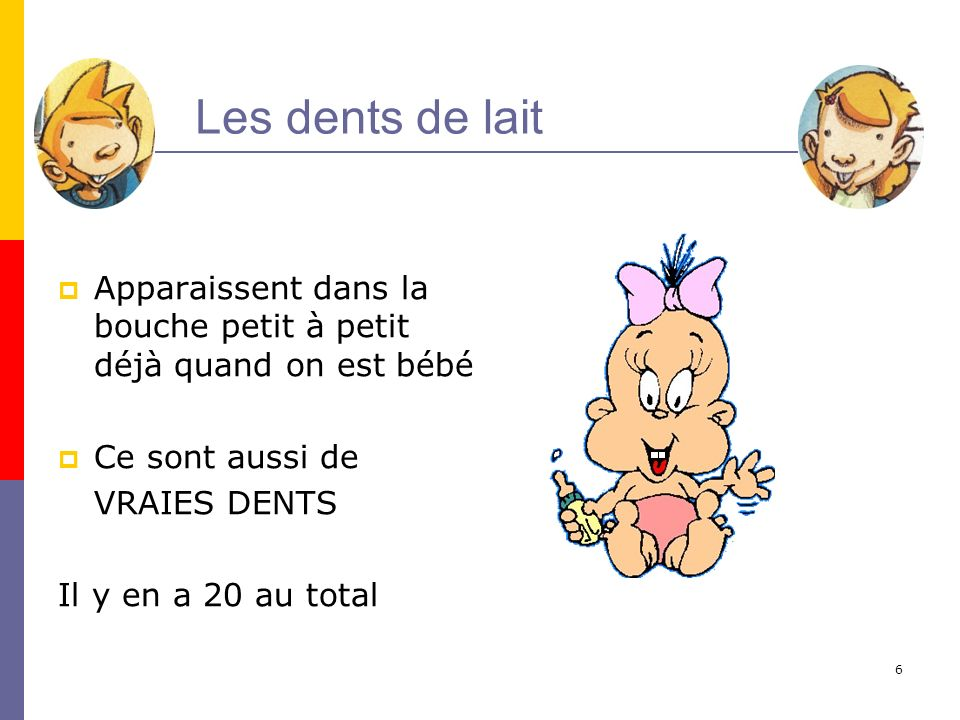 Les dents de lait Apparaissent dans la bouche petit à petit déjà quand on est bébé. Ce sont aussi de.