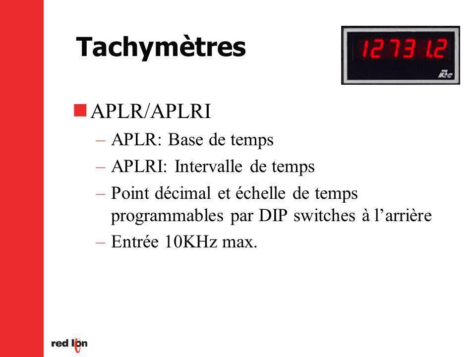 Tachymètres APLR/APLRI APLR: Base de temps APLRI: Intervalle de temps