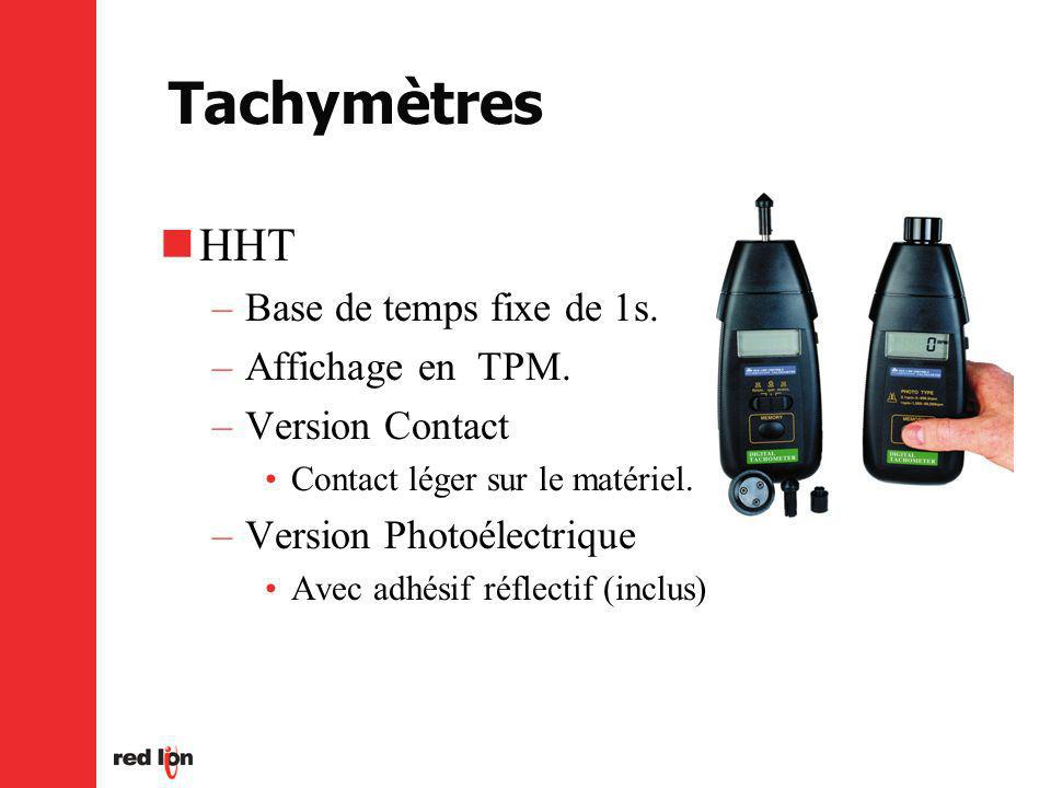 Tachymètres HHT Base de temps fixe de 1s. Affichage en TPM.
