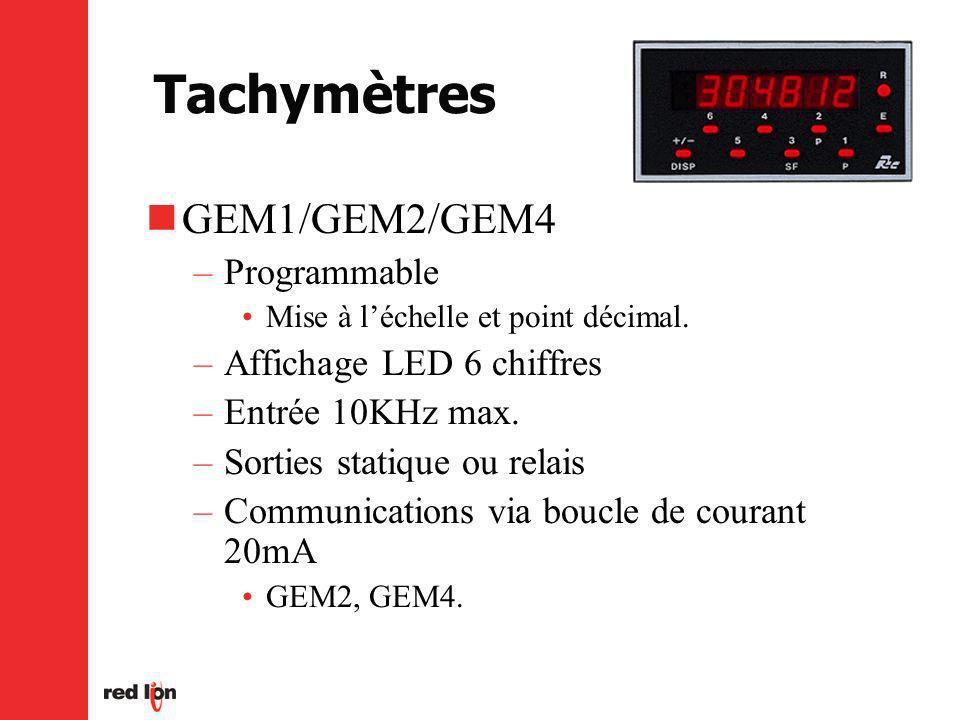 Tachymètres GEM1/GEM2/GEM4 Programmable Affichage LED 6 chiffres