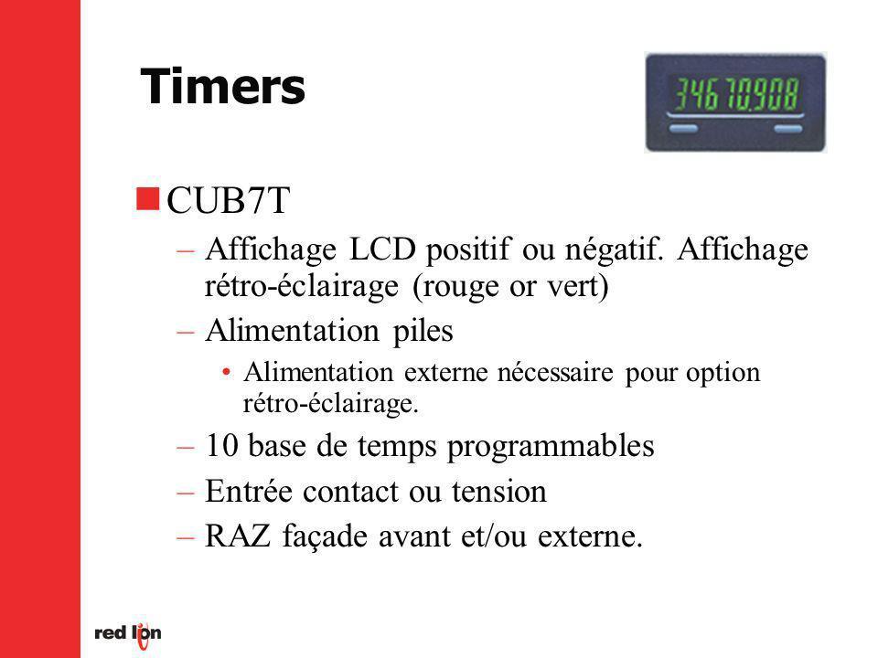 Timers CUB7T. Affichage LCD positif ou négatif. Affichage rétro-éclairage (rouge or vert) Alimentation piles.