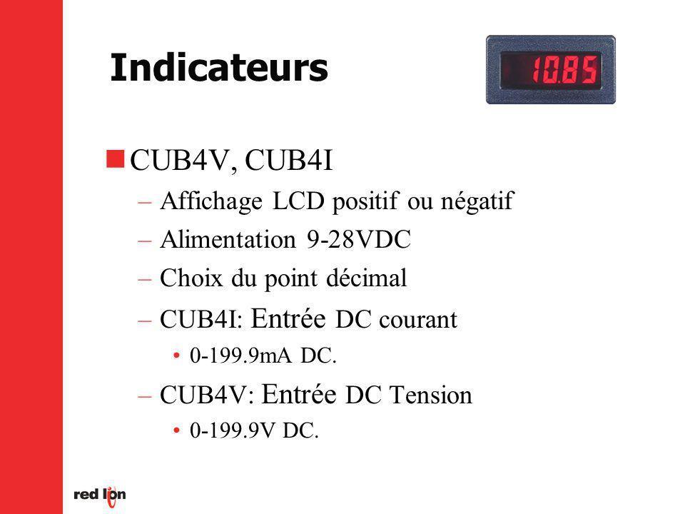Indicateurs CUB4V, CUB4I Affichage LCD positif ou négatif