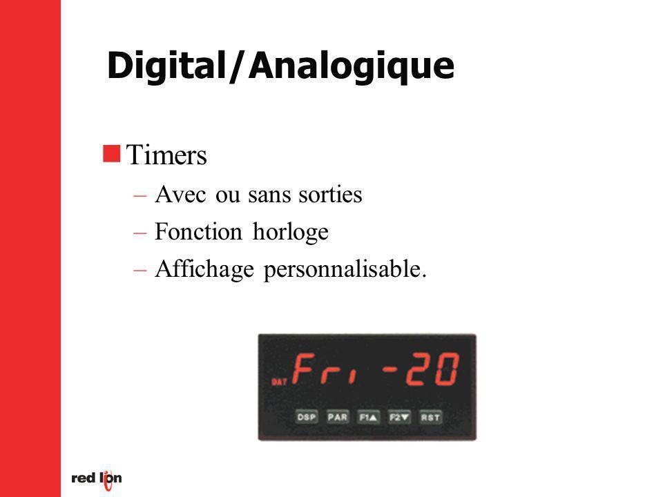 Digital/Analogique Timers Avec ou sans sorties Fonction horloge