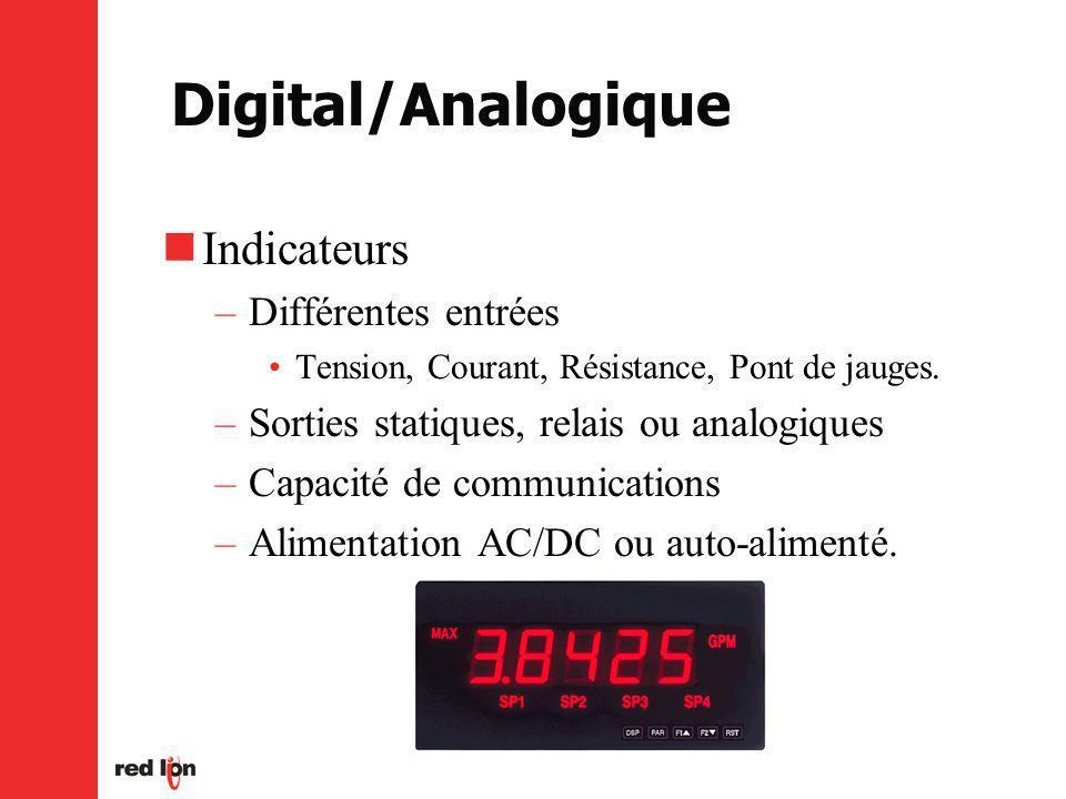 Digital/Analogique Indicateurs Différentes entrées