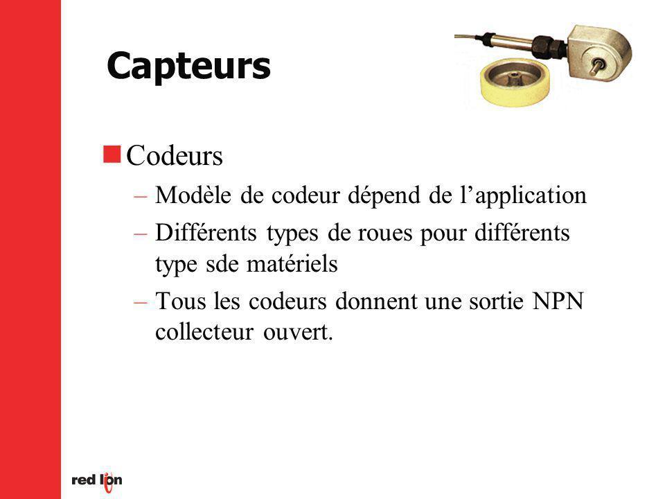 Capteurs Codeurs Modèle de codeur dépend de l'application