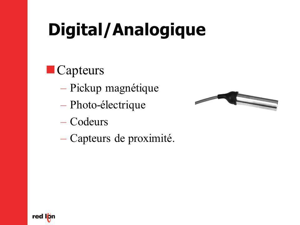 Digital/Analogique Capteurs Pickup magnétique Photo-électrique Codeurs
