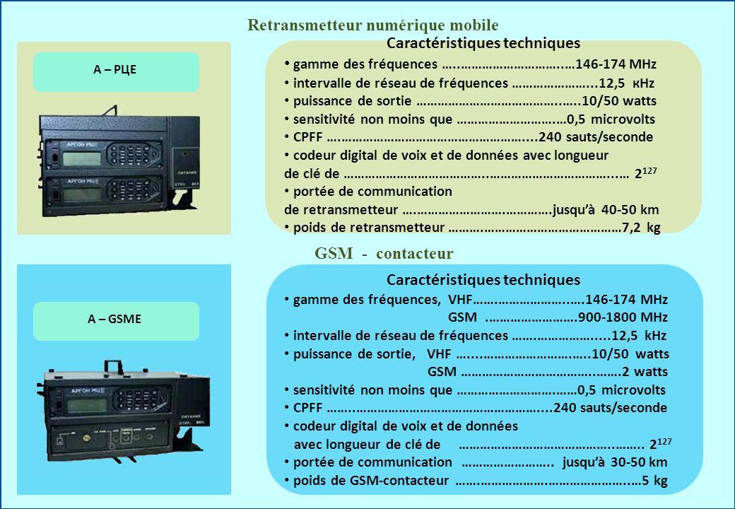 Retransmetteur numérique mobile Caractéristiques techniques