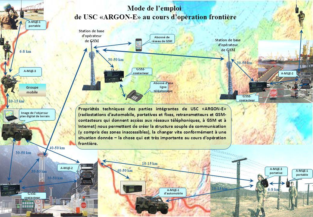 Mode de l'emploi de USC «ARGON-E» au cours d'opération frontière